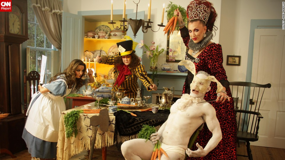 "This is clearly not the Disney version of ""Alice in Wonderland."" The Mad Hatter invites some friends 'round for tea in part of the photo series Appetite 4 Life, which was conceptualized by photographer James Amerson to raise awareness of hunger. Click through the gallery to see other images from the series."