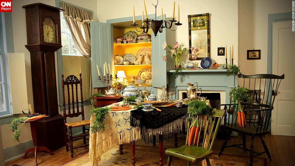 "The setting for the Mad Hatter's tea party was the dining room of <a href=""http://ireport.cnn.com/docs/DOC-1097676"">photographer James Amerson's</a> friend, Shirley Watson. ""I didn't have to do very much with this set as her home really looks like this,"" he said."