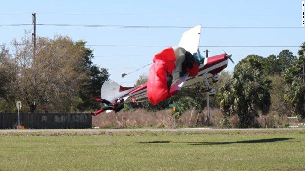 Neither the pilot nor the skydiver was seriously injured when they fell about 75 feet, according to the Polk County Sheriff's Office.