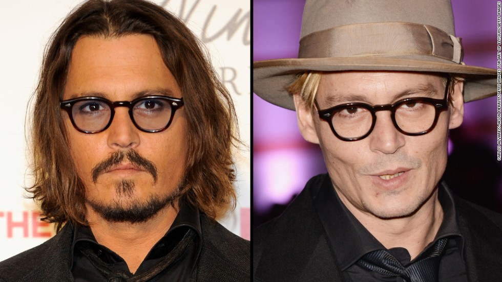 "Johnny Depp sports facial hair at the Madrid premiere of ""The Tourist"" in 2010, and goes smooth this January at an event in Los Angeles."