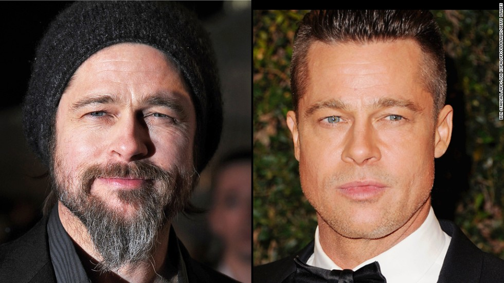 "Brad Pitt tries out a bohemian look, complete with beard, at the 2010 premiere of ""Kick-Ass"" in London, but goes for a more military style for the 2014 Academy Of Motion Picture Arts And Sciences' Governor Awards."