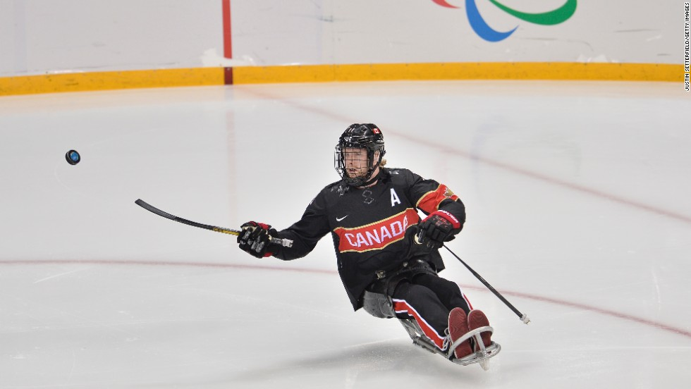Adam Dixon competes during the ice sledge hockey game between Canada and Norway on March 9.