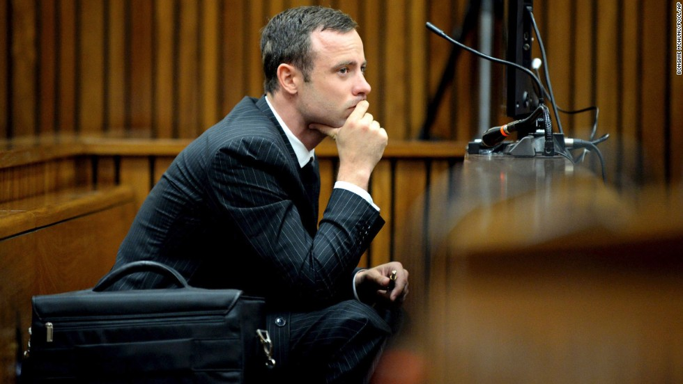 Pistorius listens to cross-questioning on Monday, March 10.