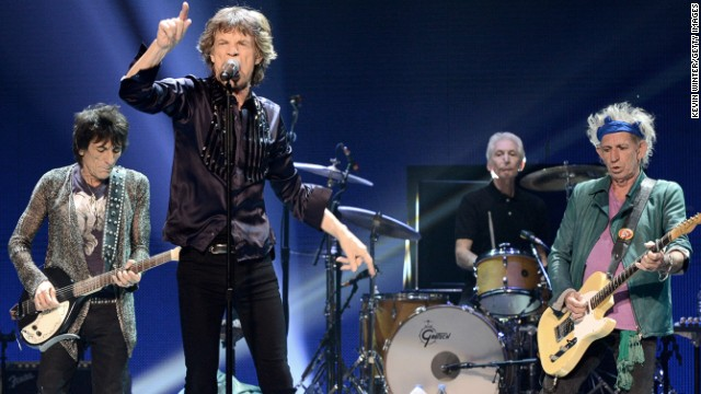ANAHEIM, CA - MAY 15:  (L-R) Musician Ronnie Wood, singer Mick Jagger, musicians Charlie Watts and Keith Richards of The Rolling Stones perform at The Honda Center on May 15, 2013 in Anaheim, California.  (Photo by Kevin Winter/Getty Images)