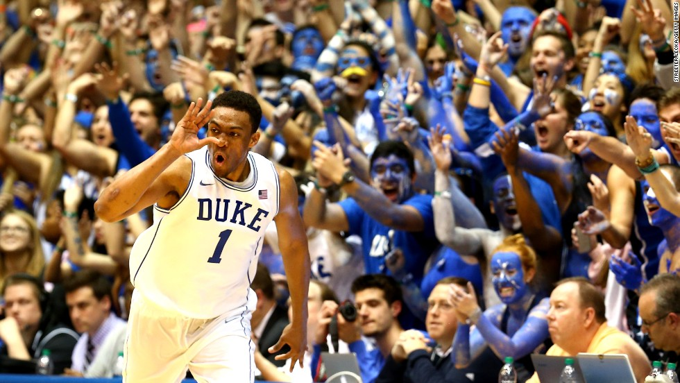 "The ""Cameron Crazies"" cheer on Duke freshman Jabari Parker after he scored a basket against North Carolina on Saturday, March 8, at Cameron Indoor Stadium in Durham, North Carolina."