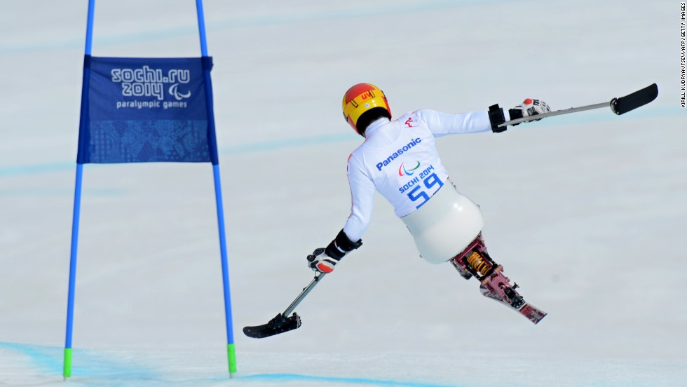 "Japanese skier Takeshi Suzuki competes in the men's downhill event Saturday, March 8, during the Paralympic Games. <a href=""http://www.cnn.com/2014/03/08/world/gallery/paralympics-2014/index.html"">The Paralympics</a> are being held in Sochi, Russia, in the same venues as the recently completed Winter Olympic Games."