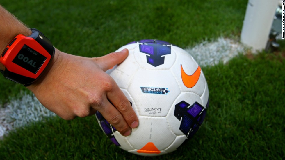 "With new ""GoalControl"" technology, referees will get signals on smartwatches such as this one when cameras detect a ball has crossed the goal line."