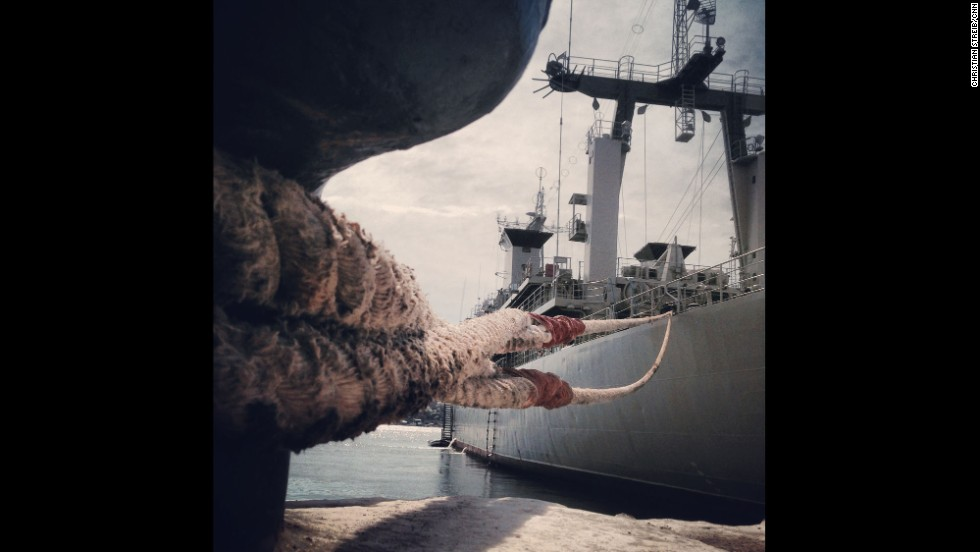 "SEVASTOPOL, UKRAINE:  The Ukranian Navy vessel Slavutych remains blocked by Russian Navy boats inside the Port of Sevastopol on March 10, photographed by CNN's Christian Streib.  Follow Christian on Instagram at <a href=""http://instagram.com/christianstreibcnn"" target=""_blank"">instagram.com/christianstreibcnn</a>."