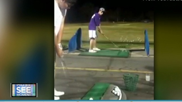 See amazing trick golf shot