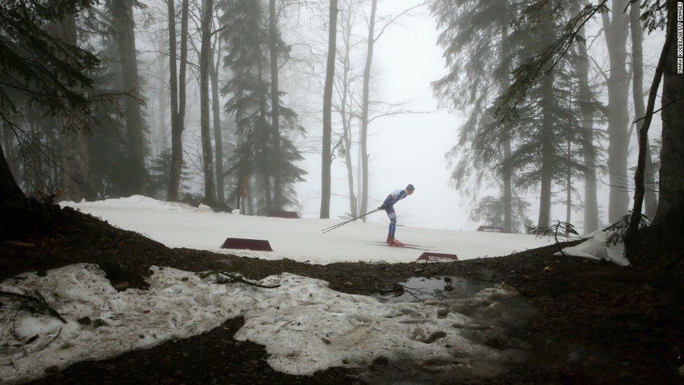 Dmytro Shulga of Ukraine competes in the men's visually impaired biathlon Tuesday, March 11.