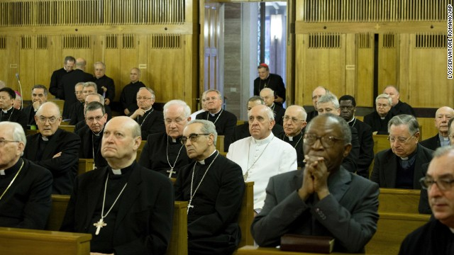 Pope Francis sits among bishops and cardinals at their recent annual retreat, as one of many.