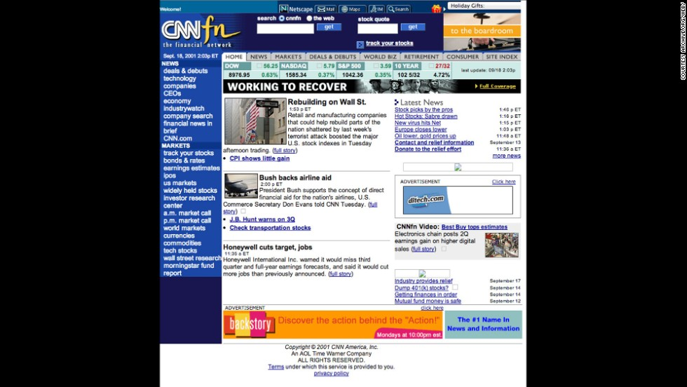 CNN's financial news network, CNNfn, only lasted nine years. But CNNfn.com was a success. The website became CNNMoney.com in late 2001, partnering with Time Inc.'s Money and Fortune magazines.
