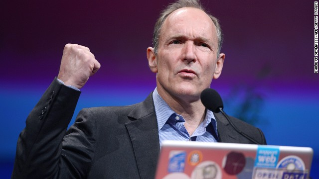 Tim Berners-Lee, the man credited with inventing the world wide web, gives a speech on April 18, 2012 in Lyon, central France, during the World Wide Web 2012 international conference on April 18, 2012 in Lyon.
