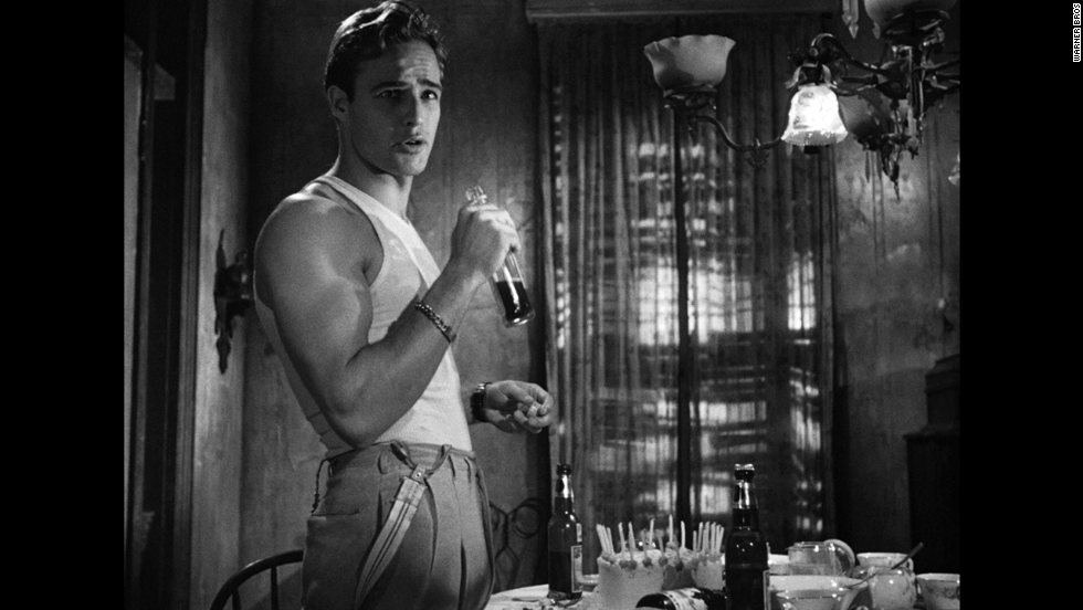 "Marlon Brando likes to hit the bottle in 1951 in ""A Streetcar Named Desire."""
