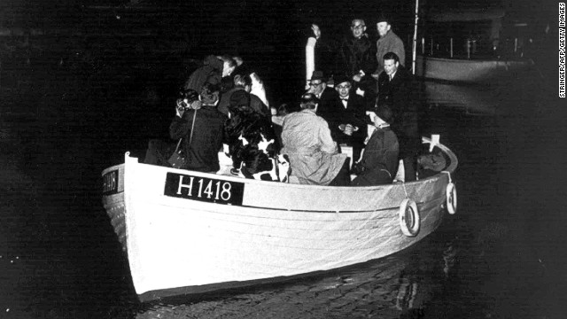 In this 1943 photo, Danish Jews escape across the Øresund to Sweden, three years after the German Nazi invasion.