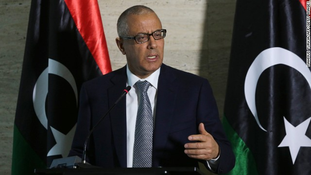 Libyan Prime Minister Ali Zeidan speaks during a press conference on March 8, 2014, in Tripoli.