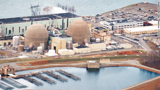 The North Anna, Virgina, #1 and #2 nuclear power generation stations operated by Dominion Virginia Power are seen March 24, 2011, at Lake Anna, Virginia, in this aerial photo. The Lake Anna Reactor is ranked 7th most at-risk for earthquake damage. According to the Nuclear Regulatory Commission, North Anna #1 and # 2 face an annual 1 in 22,727 chance of the core being damaged by an earthquake and exposing the public to radiation. The national average for US nuclear plants is a 1 in 74,000 chance. The top five most at-risk plants are all on the east coast: Indian Point, north of New York City; the Pilgrim Plant south of Boston, Limerick outside of Philadelphia, the Sequoyah plants near Chattanooga Tennessee and Beaver Valley near Pittsburgh. These five plants are at a higher statistical risk than those along fault lines in California, for example, because they were not designed for and built in presumed strong quake danger areas. Since they were constructed the US federal government has revised upwards the quake risks where they are. According to Jim Norvelle with Dominion Power, North Anna was designed to withstand a magnitude 5.9  6.1 earthquake.AFP Photo/Paul J. Richards (Photo credit should read PAUL J. RICHARDS/AFP/Getty Images)