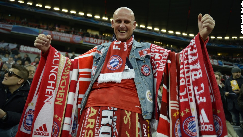 Bayern Munich fans arrived at the Allianz Arena in high spirits with their side confident of booking its place in the quarterfinals of the Champions League. Bayern led 2-0 against Arsenal going into the second leg of their last-16 tie.