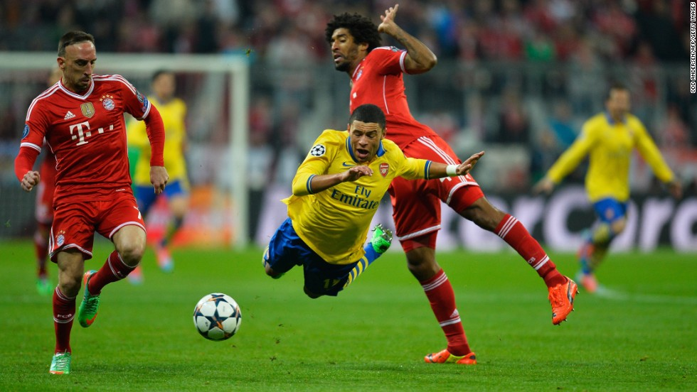 Arsenal's Alex Oxlade-Chamberlain was one of the most impressive performers for the English side, which won at the Allianz a year ago in this competition. The midfielder caused Bayern plenty of problems with his searing pace.