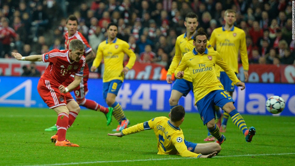 Bayern took the lead nine minutes after the interval when Bastian Schweinsteiger fired home from close range after Arsenal failed to cut out Franck Ribery's cross.