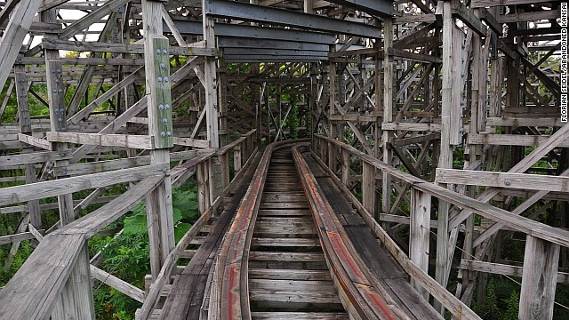 Urban exploration can be risky. There's no way to tell if abandoned structures, like this coaster at Nara Dreamland, are architecturally sound.