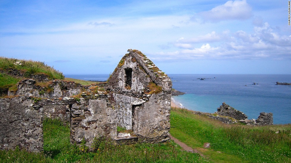 Ruins of stone buildings remain as evidence of the former residents of Great Blasket Island.