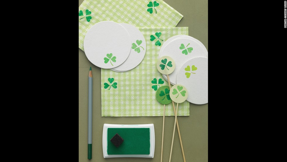 Rinse the pink ink from a heart-shaped rubber stamp, and use it (and a green ink pad) to add shamrocks to napkins, coasters, and more. To make a swizzle stick, stamp a clover pattern onto card stock, and draw a stem with a colored pencil; repeat. Cut out with a 1-inch circle craft punch. Glue circles together, back sides facing, onto a skewer.