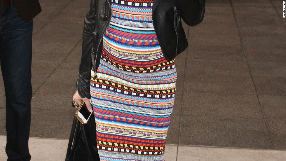 Kristin Cavallari shows off her growing baby bump in New York City on March 12.
