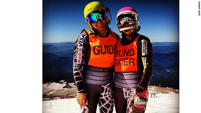 Caitlin Sarubbi, who is legally blind, and her sister Jamie, her downhill skiing guide, during training in Mt. Hood, Oregon.
