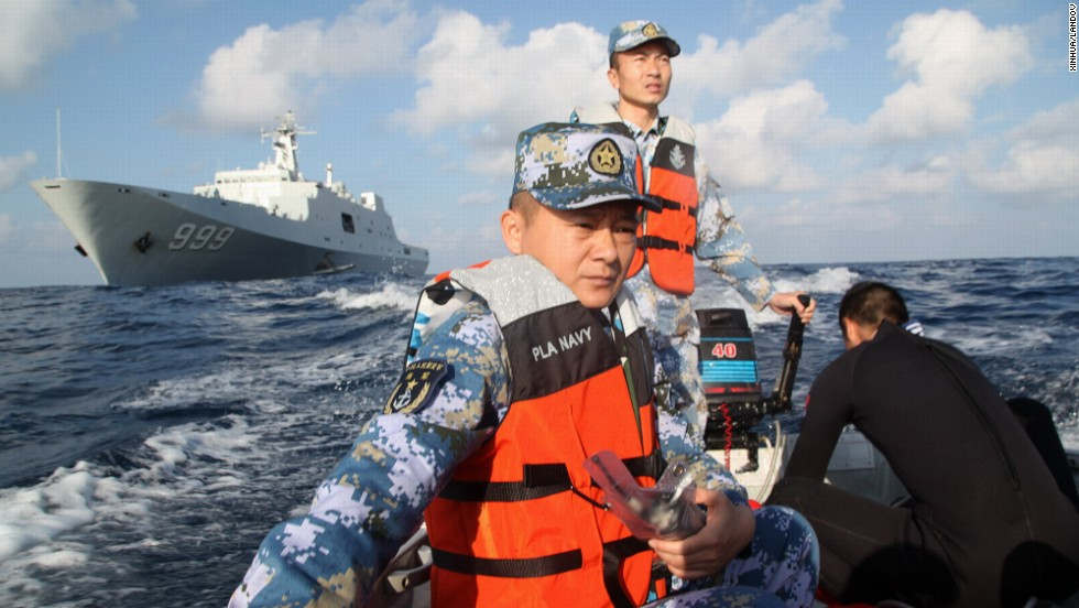 Members of the Chinese navy continue search operations on March 13, 2014. After starting in the sea between Malaysia and Vietnam, the plane's last confirmed location, search efforts expanded west into the Indian Ocean.
