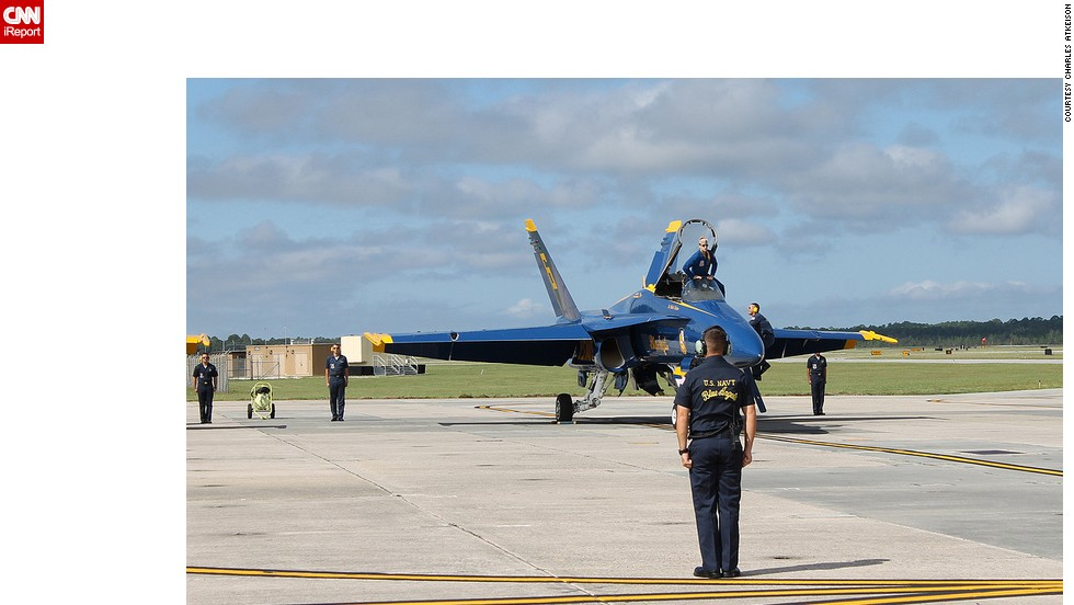 Atkeison had the opportunity to photograph the Blue Angels practicing at the Naval Air Station in Pensacola in September 2013.