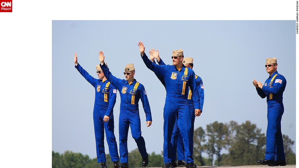 Blue Angels pilots and crew members greet show spectators in Pensacola.