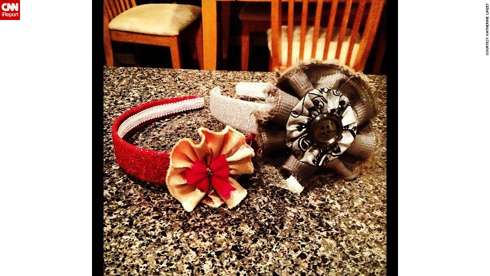 "These headbands were designed by Elyse, using fabric flowers Linzey learned to sew through tutorials on Pinterest. ""No particular occasion, just filling time."""
