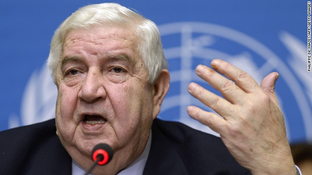 Syria's Foreign Minister Walid al-Moallem at the United Nations headquarters on January 31, 2014 in Geneva.