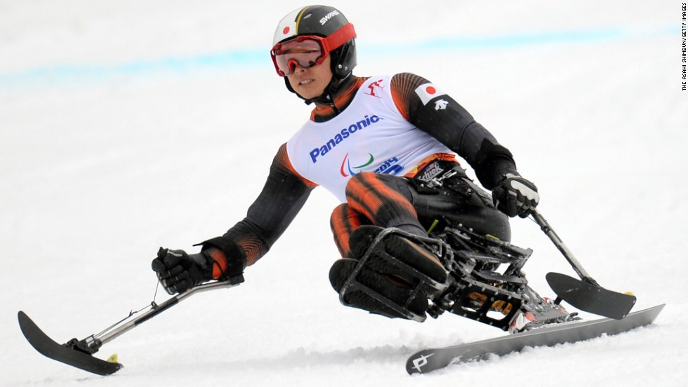 Kenji Natsume of Japan competes in the men's sitting slalom event on March 14.
