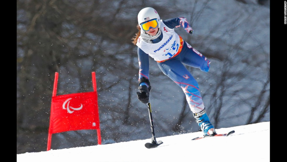 American skier Stephanie Jallen races to win the bronze medal in the super-G on Monday, March 10.