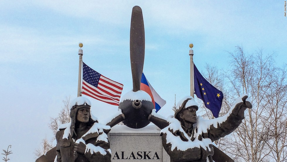"The Alaska Siberia World War II Memorial honors U.S. and Soviet pilots who transported nearly 8,000 warplanes from the continental United States to Russia between 1942 and 1945. Due to weather or mechanical problems, 177 planes crashed en route. The memorial is located in Griffin Park in downtown Fairbanks.  Click <a href=""https://www.facebook.com/juneauphotos"" target=""_blank"">here</a> to see more of photographer Pat Costello's Alaska pictures."
