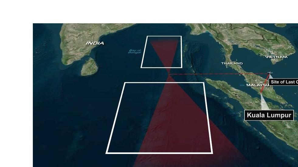 Un análisis de Estados Unidos evalúa dos posibles trayectorias del vuelo 370.