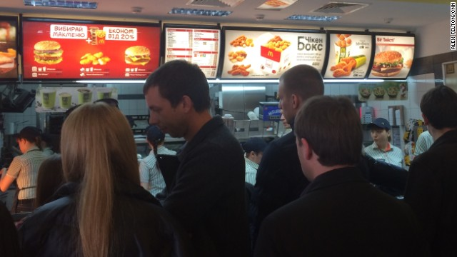 A CNN crew's got to eat, right? Turns out you learn a little something about a country's crisis at McDonald's.