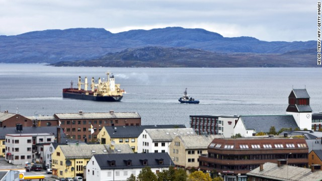 Ships carry iron ore and other goods from Kirkenes to China via the Northeast Passage through the Arctic Ocean.