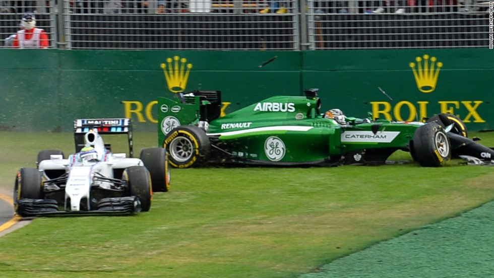 Felipe Massa and Kamui Kobayashi come to grief on the first corner of the Australian Grand Prix in Melbourne. Kobayashi took the blame for the incident which left Massa fuming.