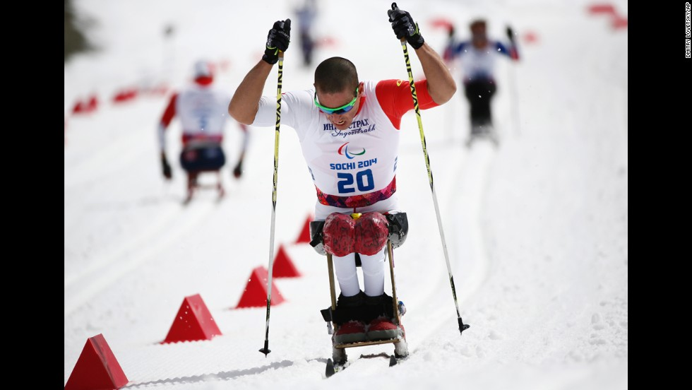 Chris Klebl of Canada competes to win the gold medal in the men's cross-country 10-kilometer sitting event on March 16.