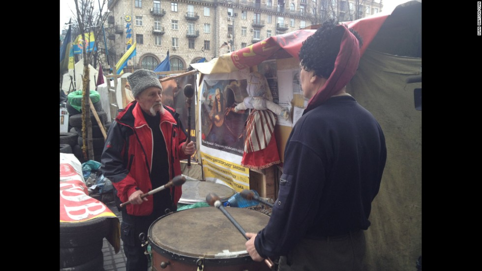 "KIEV, UKRAINE:  ""The mood was grim in Kyiv's Maydan (March 16), as a mustachioed Ukrainian Cossack beat a kettle drum during the separatist referendum in Crimea."" - CNN's Ivan Watson.   <a href=""http://instagram.com/p/lnRE-tiDSP/"" target=""_blank"">WATCH THE INSTAGRAM VIDEO</a>   Follow Ivan on Instagram at<a href=""http://instagram.com/ivancnn"" target=""_blank""> instagram.com/ivancnn</a>."