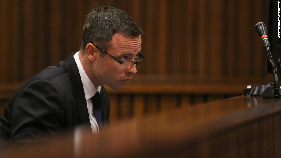 Pistorius takes notes Monday, March 17, as his murder trial enters its third week.