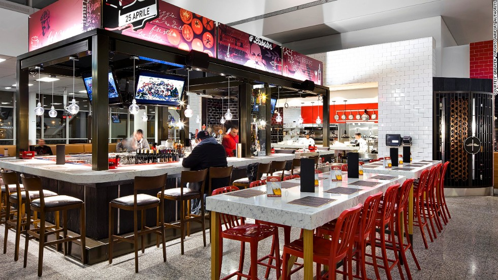 Canadian celebrity chef and restaurateur Massimo Capra is often at this YYZ location inside Toronto Pearson International Airport, guaranteeing that every pizza, pasta and glass of wine can be served within 10 minutes.