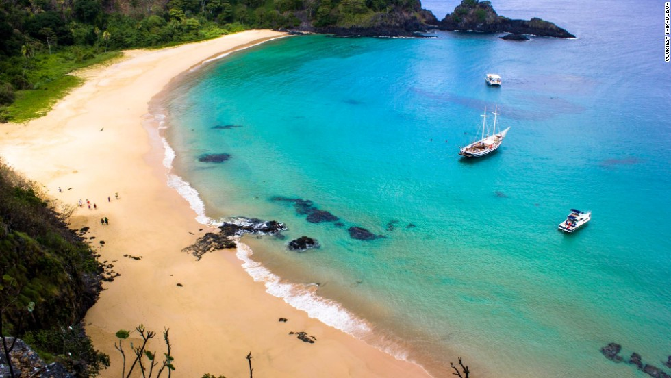 Baia do Sancho in remote Fernando de Noronha, Brazil, takes the top spot in TripAdvisor's 2014 Travelers' Choice best beaches list. Located on a volcanic archipelago, the beach jumped to the top spot from No. 4 last year.