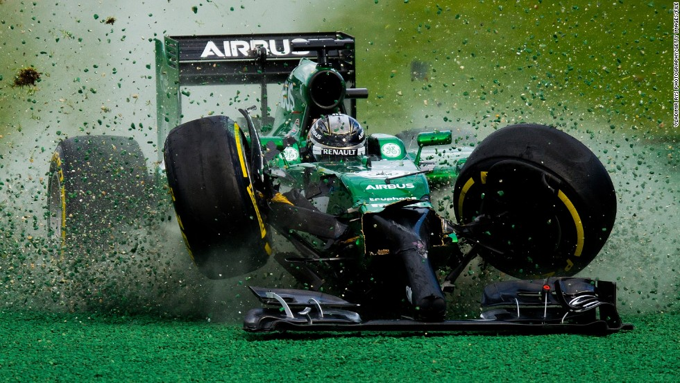Kamui Kobayashi loses control of his car after crashing into Felipe Massa during the Australian Grand Prix on Sunday, March 16. It was the opening race of the Formula One season.