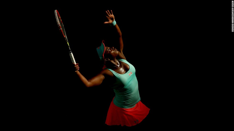 Sloane Stephens serves to Flavia Pennetta during the BNP Paribas Open in Indian Wells, California, on Thursday, March 13.