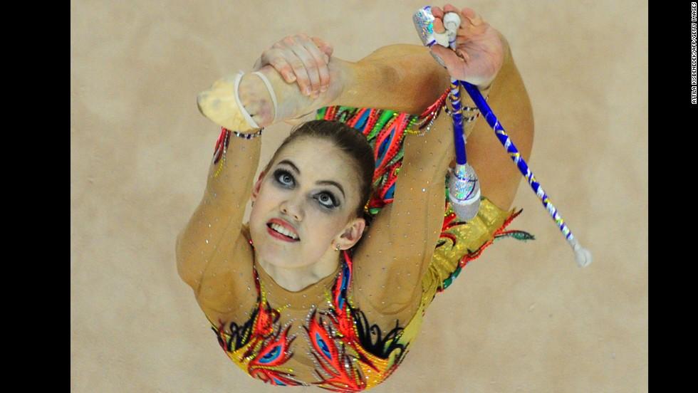 Russia's Elizaveta Nazarenkova performs Sunday, March 16, during the Rhythmic Gymnastics World Cup event in Debrecen, Hungary.