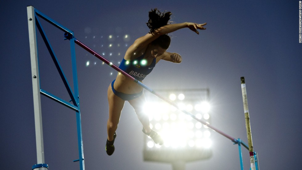 Fabiana De Almeida competes in the women's pole vault final Friday, March 14, at the South American Games in Santiago, Chile.